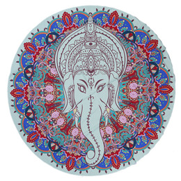 $enCountryForm.capitalKeyWord UK - 59 Inch Round Yoga Mat Bohemian Mandala Tapestry Wall Decorative Hanging Tapestries Summer Beach Towel Throw Rug Blanket Gift - Elephant