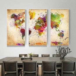 8 photos world map wall art panels nz wholesale 3 pieces canvas wall art abstract painting watercolor