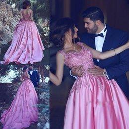 $enCountryForm.capitalKeyWord Australia - Charming Pink Satin Prom Dress A-Line Sweetheart Neckline Appliques Sleeveless Evening Gowns 2017 Glamorous Court Train Red Carpet Dresses