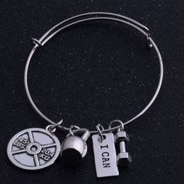 $enCountryForm.capitalKeyWord NZ - Wholesale New Fitness Charm Bracelet Strong is beautiful , i can Bracelet Barbell Bangle Jewelry free shipping