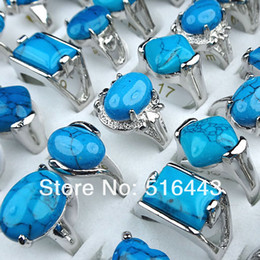 $enCountryForm.capitalKeyWord NZ - Silver Plated 50pcs Blue Turquoise Charms Vintage Women Mens Rings Wholesale Jewelry Lots A-025