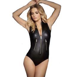 Women Black Sexy Lingerie Zipper Faux Leather Teddies Thong Bodysuit Suit  Erotic Lingerie Leotard Costumes Exotic Outfit 227dba842