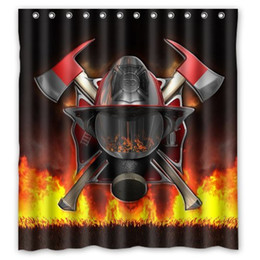 "Firefighter Series Cool Helmet New Hero Design Amazing Shower Curtain Bath Decor Curtain 66 "" x 72 """
