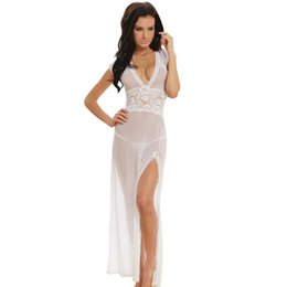 Barato Camisola Transparente-Mulheres Sexy Long Dressing Night Gown Sheer Vestido Transparente Nightgown Nightie Sleepwear Lingerie + Thong Set