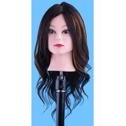Human Hair mannequins online shopping - 18 Human Hair Head Doll Training Head Hairdressing Mannequins Doll Heads Dummy Hairstyles Long Hair And Natural Hair Training Head
