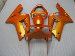 China 100% injection molding fairings kit for Kawasaki ninja ZX6R 2003 2004 gold bodywork fairing set zx6r 03 04 OT22 cheap zx6r gold suppliers