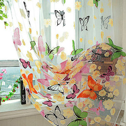 $enCountryForm.capitalKeyWord Canada - 2017 2pcs   set European style Curtain Beautiful Butterfly Print Sheer Curtain Panel Window Balcony Tulle Room Divider Sheer Curtains