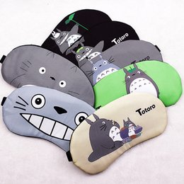 Barato Olhos Bonitos Do Remendo Do Sono-Cute Cartoon Totoro Sleep Mask Travel Relaxar Dormir Aid Blindfold Ice Cover Eye Patch Máscara de dormir Case Black 2Pcs