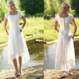 tea length elegant beach dresses 2019 - Vintage 2017 Full Lace Beach Wedding Dresses Party Short Sleeve Zipper Back O Neck A Line Elegant Custom Made Bridal Gow