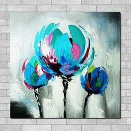 Discount textured oil paintings Thick Textured Tulip Palette Knife Oil Painting Handmade No Frame Knife Oil Painting On Canvas Wall Art Decoration