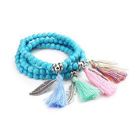 Cheap Turquoise Pendants UK - Fashion turquoise bead tassel leaf feather charm pendant stretchy bracelet for women lady cheap jewelry B0774