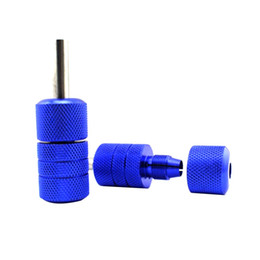 Atacado-New Arrival 25x50mm Auto-lock Tatuagem Azul Grip Moda Alloy Knurled Tattoo Grip Para Tattoo Machine Tool