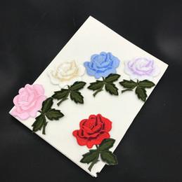 20 pcs Rose Fleur Décoration Fer Sur Patch Pour Vêtements Veste Patches parches Brodé Robe De Mariage Tissu Patchwork Stade Appliqued en Solde