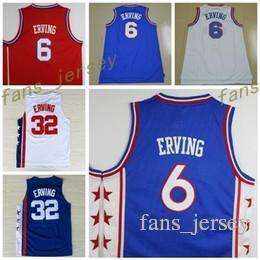 Camisas Blancas Calientes Baratos-El más caliente retroceso 32 Dr J Julius Erving Jerseys uniformes para los fanáticos del deporte All Star 6 Julius Erving camiseta deportivo transpirable Home Blue Red White