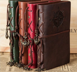 Vintage Leather Books Canada - Spiral NoteBook Newest Diary Book Vintage Pirate Anchors PU leather Note Book Replaceable Xmas Gift Traveler Journal