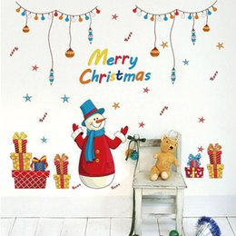 $enCountryForm.capitalKeyWord NZ - Merry Christmas Santa Claus snowman Removable Mural Wall Stickers Christmas Shopping Gifts Window Art Decal for Home Shops Decoration