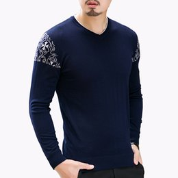 Barato 7xl Homens-Venda por atacado - Hot Sale 2016 New Autumn Men's Sweater Moda impressão V Neck Sweater Mens Clothes Tendência casual confortável lã pullovers 7XL 8XL