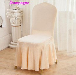 DHL Lycra Spandex Dining Chair Cover Skirt For Wedding Party Banquet Hotel Decoration Good Quality Several Colors