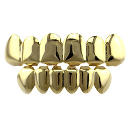 Chinese  Hiphop Teeth Grillz Gold Rose Gold Silver Plain Grills Set Top&Bottom Tooth Grillz Dental Teeth Caps Party Body Jewelry Christmas Gift manufacturers