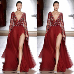 Chinese  Tony Ward 2018 Side Split Dresses Evening Wear Long Sleeve Red Embroidery Vintage Prom Gowns Sexy Deep V Neck Party Dress manufacturers