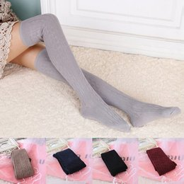 высокие шерстяные чулки оптовых-New Woman Wool Braid Over Knee Socks Thigh Highs Hose Stockings Twist Warm Winter