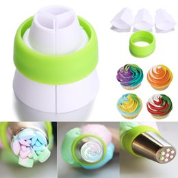cake decor nozzles Australia - Wholesale- 3-Color Icing Piping Bag Russian Nozzle Converter Coupler Cake Cream Decor Tool