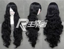 anime picture NZ - 100% Brand New High Quality Fashion Picture full lace wigs>Long Black Curly Wavy Anime Cosplay wig free shipping