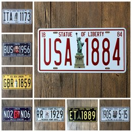 Japan badges online shopping - City License Plate X15 CM Tin Posters Statue Of Liberty Big Ben Iron Painting Eiffel Tower Minibus rje