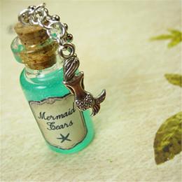 Necklace bottles cork online shopping - 12pcs Mermaid Tears necklace Mermaid ocean sea charm Cork glass Bottle Pendant jewelry