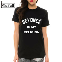 T-shirt En Gros Plus En Taille Pas Cher-Wholesale- BEYONCE IS MY RELIGION 2016 Summer Black T-Shirts Lettre Imprimer Camisetas Feminina T-shirt Femme T-shirt Taille Plus Ladies Tops