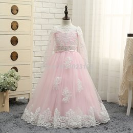 Feather Long Ball Gown Canada - HighBuy New Pink Flower Girl Dresses White Lace Long Sleeves Princess Dress Ball Gown Floor Length Girls First Communion Dress