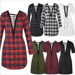 Camisas De Manga Larga Mujeres Baratos-Plaid T Shirts Grid Blusas Summer Loose Tops Moda Casual Camiseta de gran tamaño Camisas Mujer V Neck Pullover Long Sleeve Coat Jumper B2387