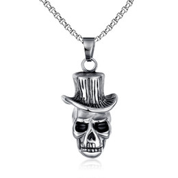 Silver Rolled Chain Australia - Men's Skull Wind Hat Gentleman Rock & Roll Cowboy Pendant Necklace Stainless Steel Vintage Punk Halloween Jewelry with 24inch PN-146