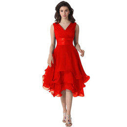China Asymmetrical V-neck Ruffles Short Bridesmaid Dresses Chiffon 2017 New Design Elegant Wedding Party Dress Formal Prom Dresses robe de soiree cheap designs dress suppliers
