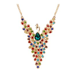 $enCountryForm.capitalKeyWord NZ - 2017 new Luxury Gold Color Peacock Design Multicolor Created Diamond Necklace for Wedding Women Wholesale free shipping