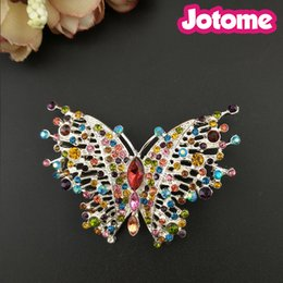 $enCountryForm.capitalKeyWord NZ - 50PCS Lot 60mm Gold Tone Butterfly Brooches For Womrn Party Formal Dress Colorful Rhinestone Pin Brooch