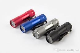 Venta al por mayor de Luz púrpura 9 x CREE LED Luz UV Linterna Senderismo Mini UV Antorcha Aleación de aluminio Dinero que detecta la luz LED de la lámpara UV en la caja