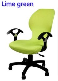 Green Office Chairs Canada - Lime Green colour lycra computer chair cover fit for office chair with armrest spandex chair cover decoration wholesale