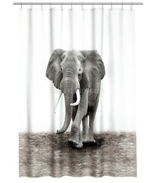 wholesale shower curtain natural world elephant design shower bathroom waterproof mildewproof polyester fabric with 72 inch 12 hooks inexpensive elephant