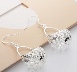 top fashion basket 2019 - 6pairs TOP sale new arrival 925 silver copper plated fashion women's ladies female Hollow flower basket earrings ea