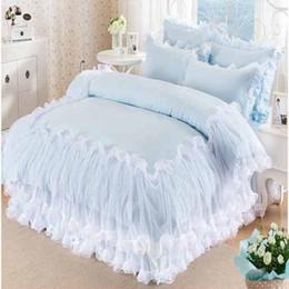 Juego de cama de encaje de color sólido rey tamaño queen 100% algodón 4pcs Juego de cama de colcha de princesa niñas edredón funda sábanas funda de almohada en venta
