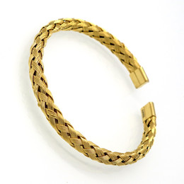 $enCountryForm.capitalKeyWord Canada - Wholesale Luxury Stainless Steel Twisted Chain Cable Bracelet Men Gold Plated Open Cuff Bracelets Bangles Plait wire Jewelry
