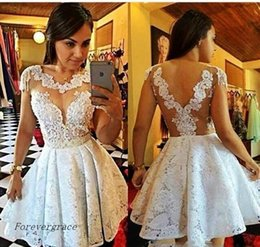Barato Feito À Medida 15 Vestidos-2017 Little White Lace Appliques Homecoming Dress A Line Crew Neck Juniors Sweet 15 Graduation Cocktail Party Dress Plus Size Custom Made