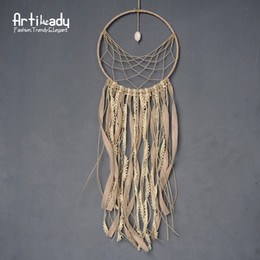 $enCountryForm.capitalKeyWord Canada - Wholesale- Artilady velvet tassel dreamcatcher vintage natural white turquoise wall hanging dream catcher for women room decoration