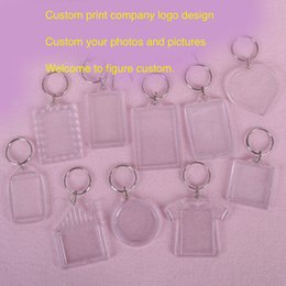 Wholesale Transparent blanks Acrylic keychains plastic Clear Charm keyring pendant provide picture to custom made company design advertising gifts