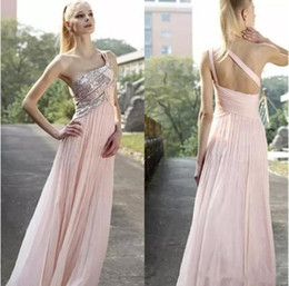 $enCountryForm.capitalKeyWord Canada - One-Shoulder Sequin Light Pink A-Line Sweep Train Backless Evening Dresses 2017 Simple Fashion Prom Cocktail Party Dresses