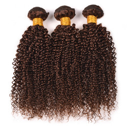 Discount chestnut brown hair weave - 8A Brazilian Kinky Curly Virgin Hair 3 Bundles #4 Light Brown Curly Human Hair Weaves 3Pcs Lot Chestnut Brown Hair Exten
