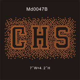 "rhinestones transfers for t shirts wholesale 2019 - MD0047B# Orange CHS 7""Wx4.2""H rhinestone iron on transfer shiny for t-shirt 30pcs"