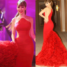 MyriaM fares hot dress online shopping - New Robe de soiree Evening Dresses Sexy Formal Celebrity Red Carpet Dresses HOT Myriam Fares Dresses Scalloped Ruffles Mermaid Prom Party