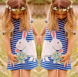 $enCountryForm.capitalKeyWord Canada - Girls Rabbit embroidery Dress kids cute patched Striped dress 5sizes children easter festival gifts